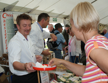 Sean Wilson handing out samples at Bakewell Show 2009