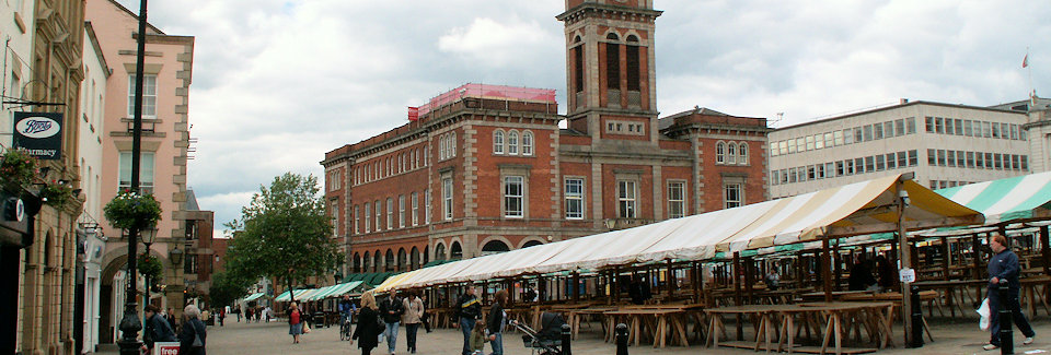 Chesterfield Market Square and Hall, location of R P Davidson, The Cheese Factor