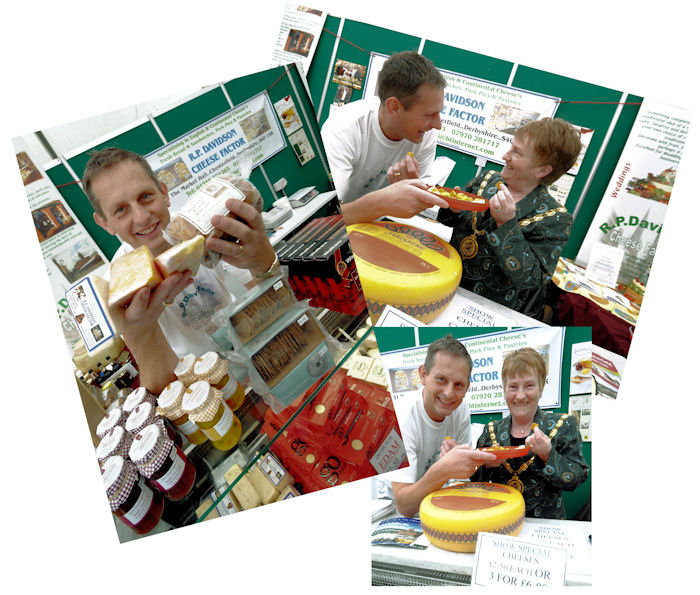 Simon of R.P. Davidson, Cheese Factor of Chesterfield, manning his stall at the Derbyshire Food Fair, Bolsover, 2009