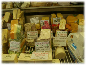 Selection of cheeses at the counter of R.P. Davidson